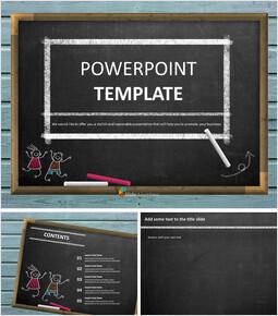 무료 구글 슬라이드 템플릿 디자인 - 칠판 및 어린이 교육_00