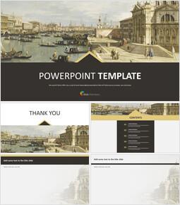 """무료 구글 슬라이드 템플릿 디자인 - Canaletto, Giovanni Antonio Canaletto """"베니스, L\' église De LA Salute""""무료 템플릿_00"""