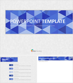 Google 슬라이드 템플릿 무료 다운로드 - 회색 배경으로 파란색 삼각형 패턴_00