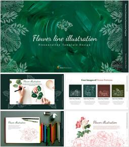 꽃 라인 일러스트 편집이 쉬운 슬라이드 디자인_00