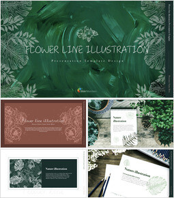 Flower line illustration Simple Keynote Template_00