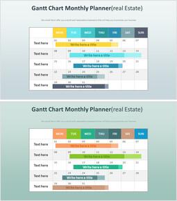 Gantt Chart Monthly Planner Diagram (Real Estate)_2 slides