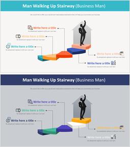 man Walking Up Stairway Diagram (Business man)_2 slides