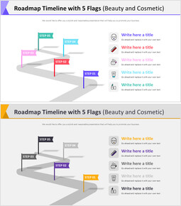 Roadmap Timeline with 5 Flags Diagram (Beauty and Cosmetic)_00