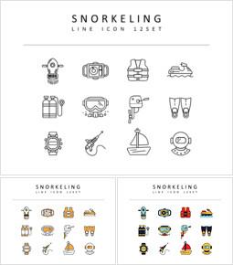 Snorkeling Vector Icons Set_3 slides