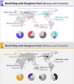 World Map with Doughnut Chart Diagram (Beauty and Cosmetic)_00