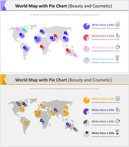 World Map with Pie Chart Diagram (Beauty and Cosmetic)_2 slides